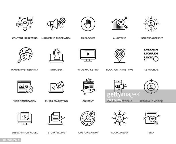 stockillustraties, clipart, cartoons en iconen met digitale marketing icon set - tevreden