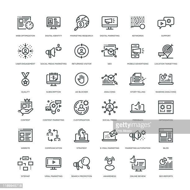 illustrazioni stock, clip art, cartoni animati e icone di tendenza di set di icone di marketing digitale - blog