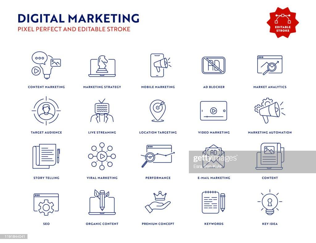 Conjunto de iconos de marketing digital con trazo editable y píxel perfecto. : Ilustración de stock