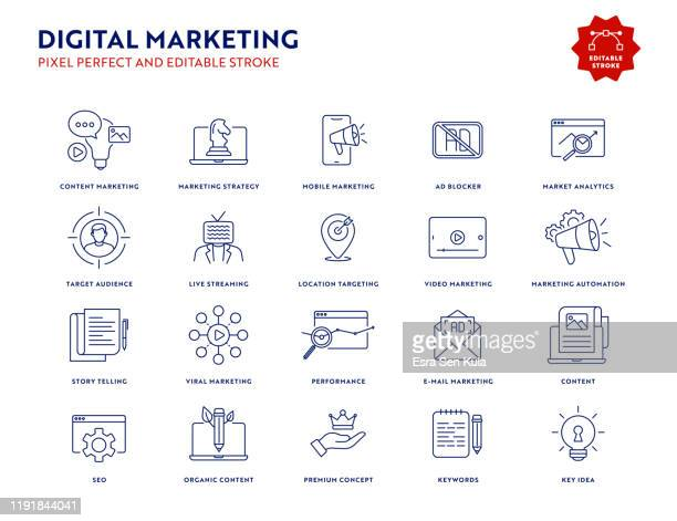 digital marketing icon set mit editierbarem strich und pixel perfekt. - kommunikation stock-grafiken, -clipart, -cartoons und -symbole