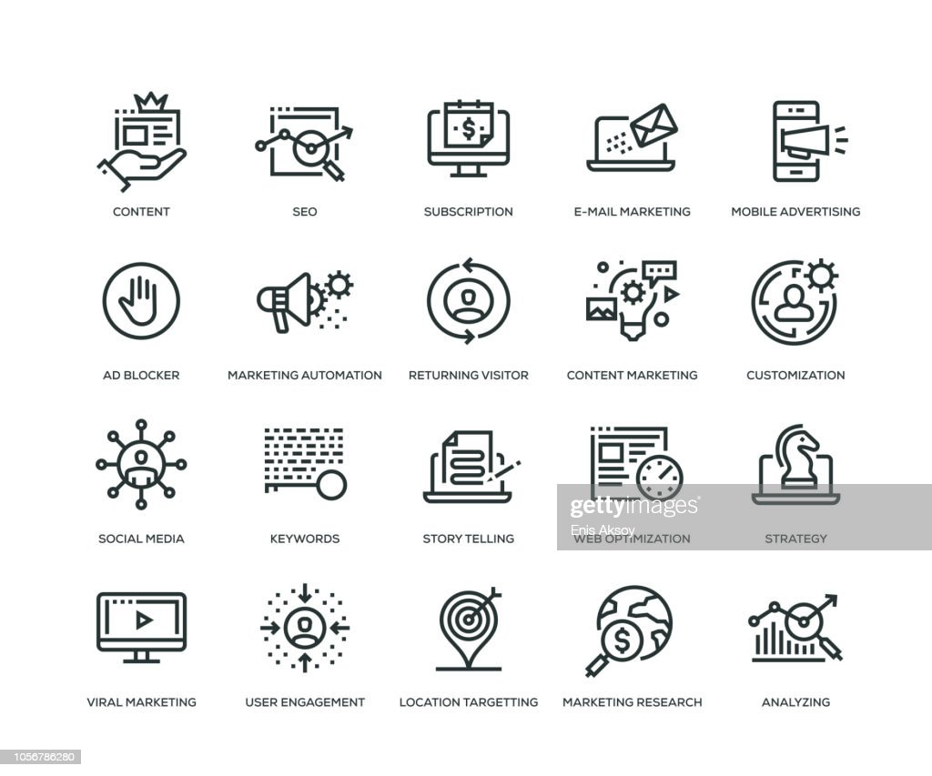 Digitales Marketing Icons - Line Serie : Stock-Illustration