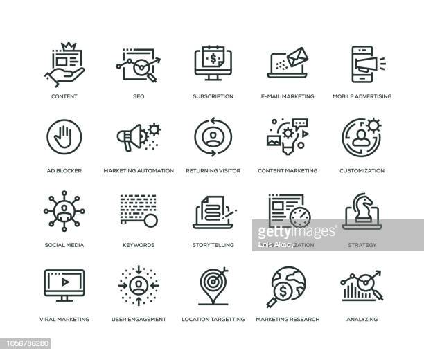 stockillustraties, clipart, cartoons en iconen met digitale marketing icons - line serie - onderzoek