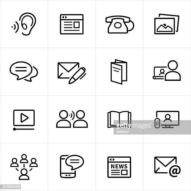 digital marketing icons - line style - television industry stock illustrations