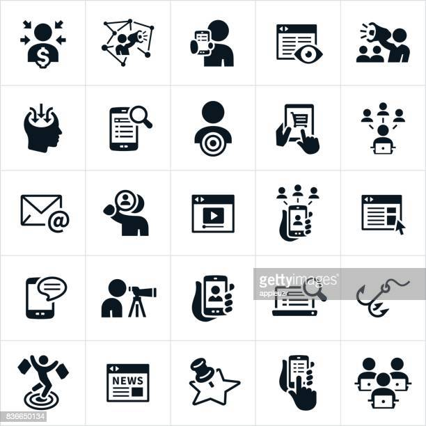 digital marketing icons - consumerism stock illustrations