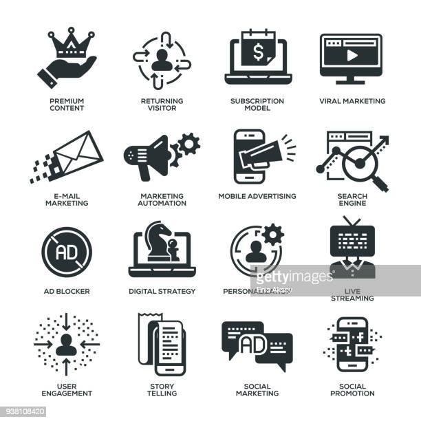 digital marketing icons - customised stock illustrations