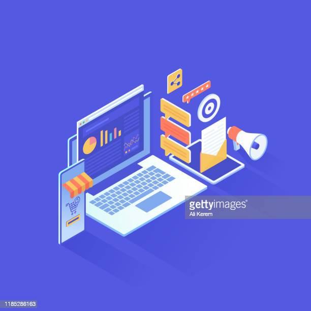 デジタルマーケティングアイソメトリックデザイン - 検索エンジン点のイラスト素材/クリップアート素材/マンガ素材/アイコン素材