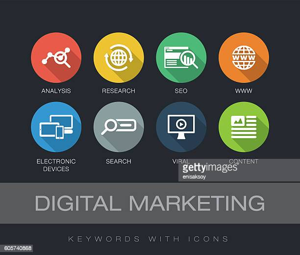 ilustrações, clipart, desenhos animados e ícones de digital marketing keywords with icons - analisando