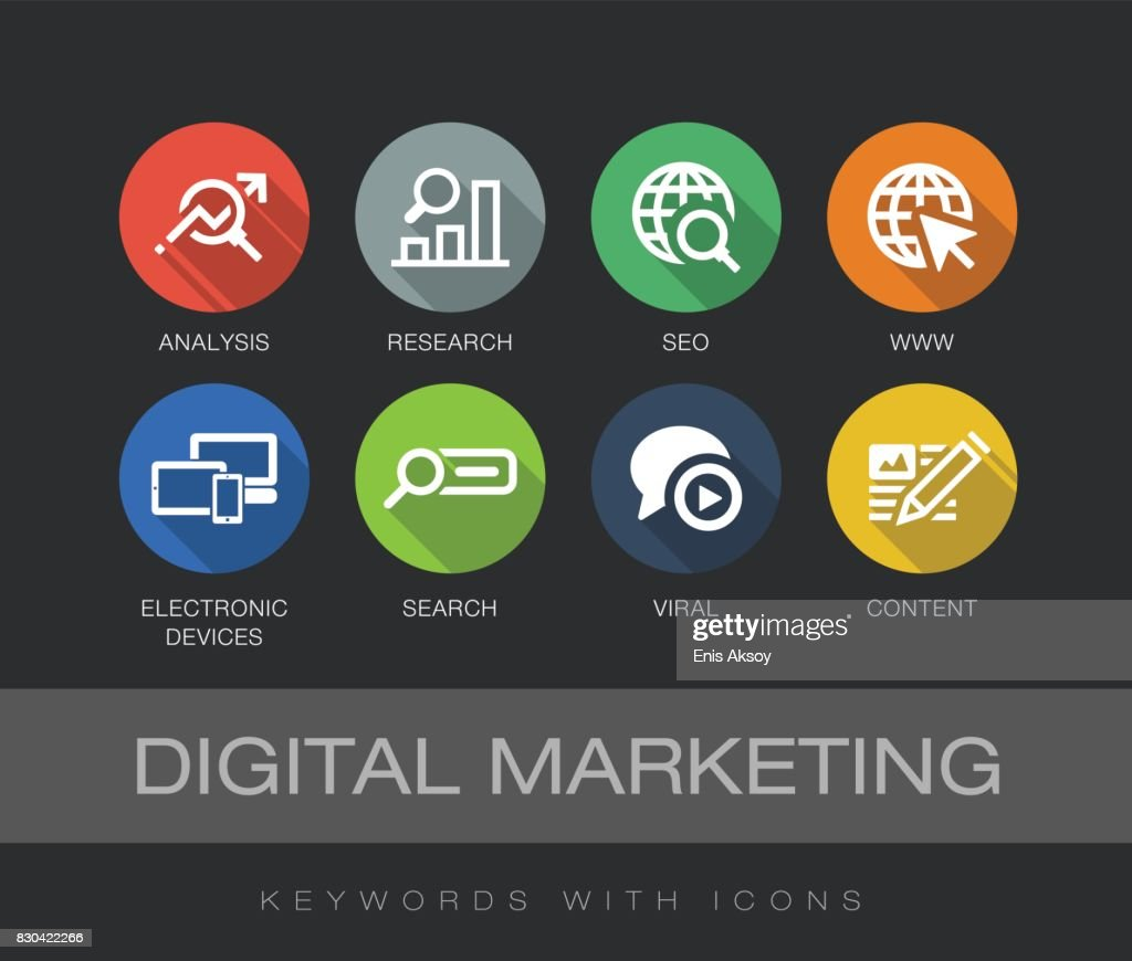 Digital Marketing keywords with icons : stock illustration