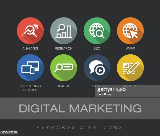 Digital Marketing keywords with icons