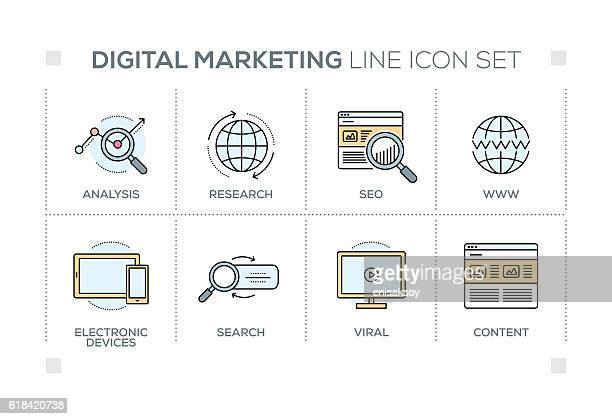 Digital Marketing keywords with line icons
