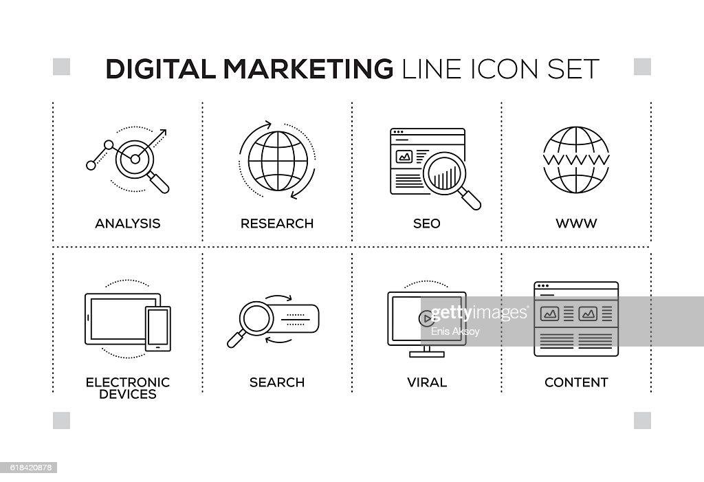 Digital Marketing keywords with monochrome line icons : stock illustration