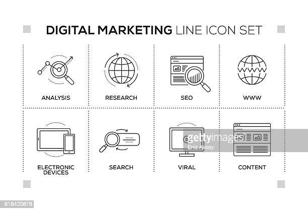 ilustrações, clipart, desenhos animados e ícones de digital marketing keywords with monochrome line icons - analisando