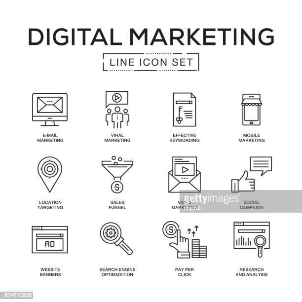 Digital Marketing Line Icon Set
