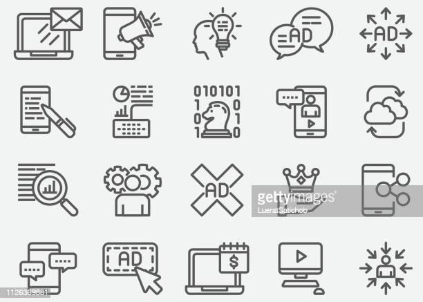digital marketing line icons - customised stock illustrations