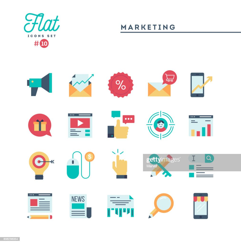 Digital marketing, online business, target audience, pay per click and more, flat icons set