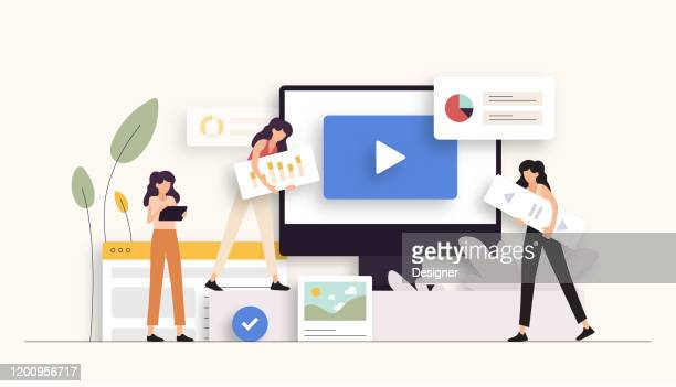 digital marketing related vector illustration. flat modern design - content stock illustrations