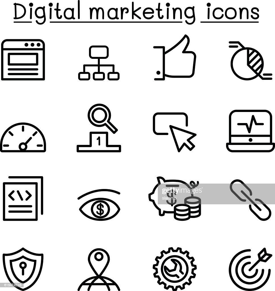 Digital marketing & SEO icon set in thin line style