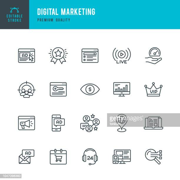 digital marketing - set of thin line vector icons - web page stock illustrations
