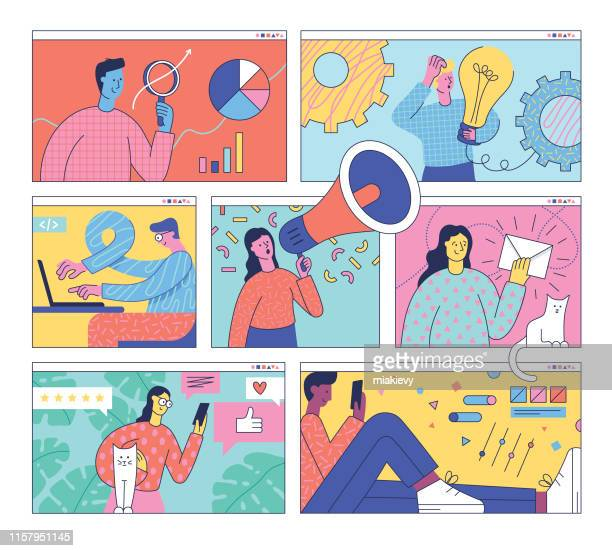 digital marketing team - using phone stock illustrations