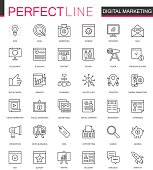 Digital Marketing thin line web icons set. Online business outline stroke icons design.