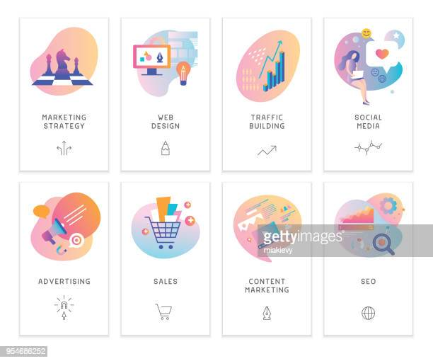 ilustraciones, imágenes clip art, dibujos animados e iconos de stock de marketing digital - finanzas
