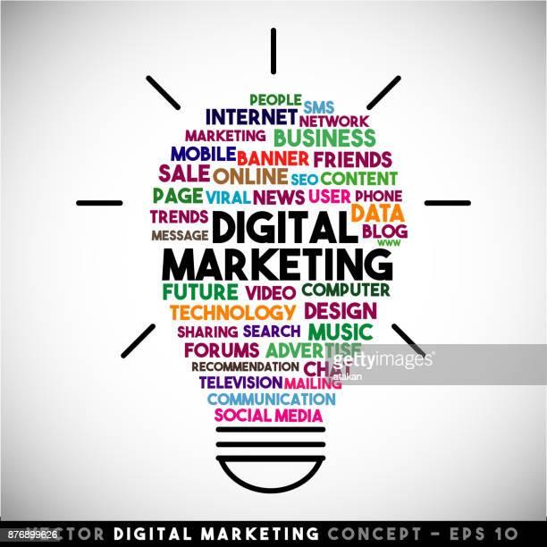 Digital Marketing vector light bulb idea concept