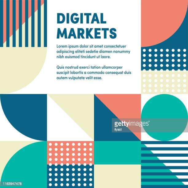 digital markets abstraktes webbanner & anzeigendesign - bildschirmpräsentation stock-grafiken, -clipart, -cartoons und -symbole