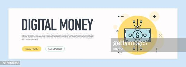 digital money concept - flat line web banner - financial technology stock illustrations, clip art, cartoons, & icons