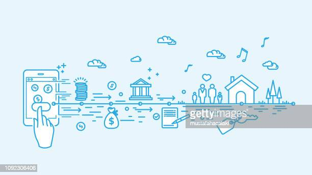 digital mortgage - mortgage loan stock illustrations