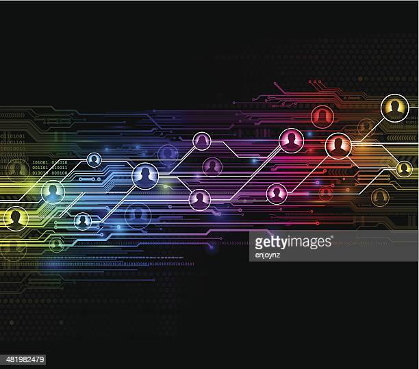 digital network background - fiber stock illustrations, clip art, cartoons, & icons