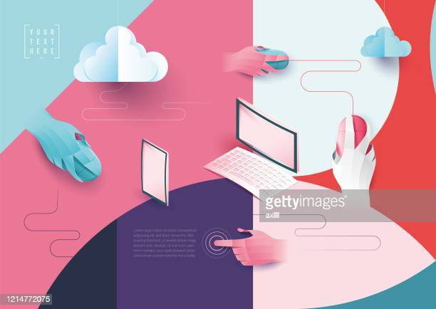 digital networking cloud computing - computeranlage stock-grafiken, -clipart, -cartoons und -symbole