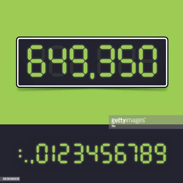 digital number display - scoreboard stock illustrations