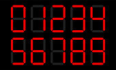 Digital numbers vector set of LCD or LED display with electronic number or calculator digits on black background