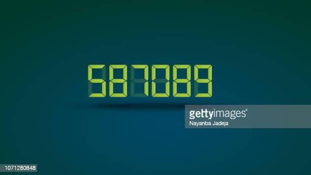 digital numeric meter display - countdown stock illustrations