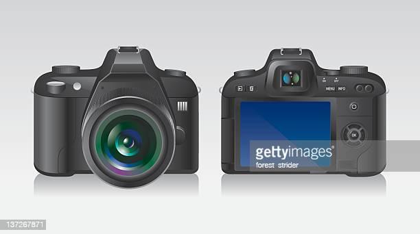 ilustraciones, imágenes clip art, dibujos animados e iconos de stock de foto de cámara slr digital - camara reflex