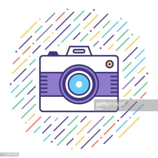 ilustraciones, imágenes clip art, dibujos animados e iconos de stock de fotografía digital flat line icono ilustración - camara reflex