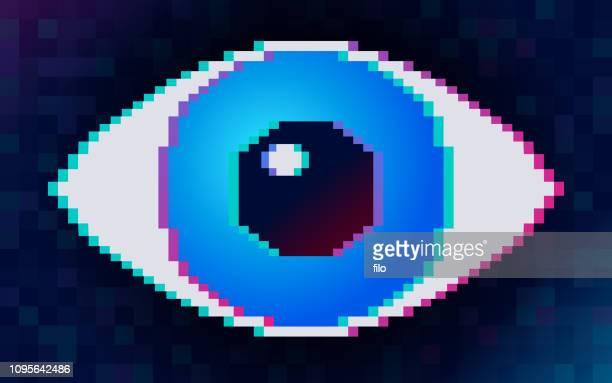 digital pixel eye - eye scanner stock illustrations