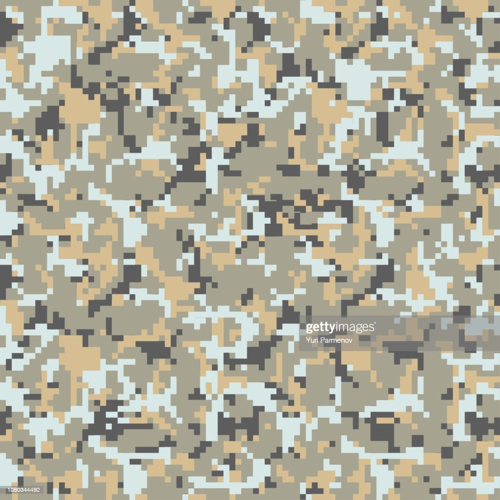 Digital pixel green and gray camouflage seamless pattern for your design. Clothing military style. Vector Texture
