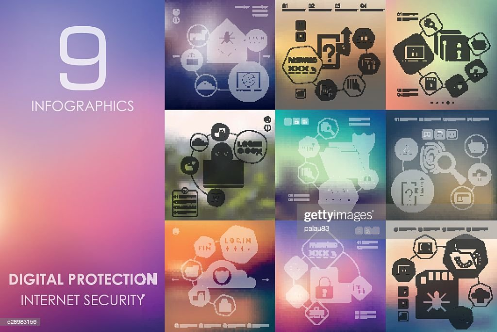 digital protection infographic with unfocused background