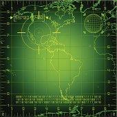 Digital radar illustration of the Americas
