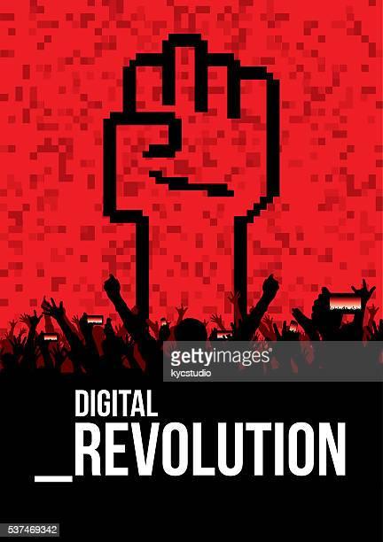 digital revolution poster - revolution stock illustrations