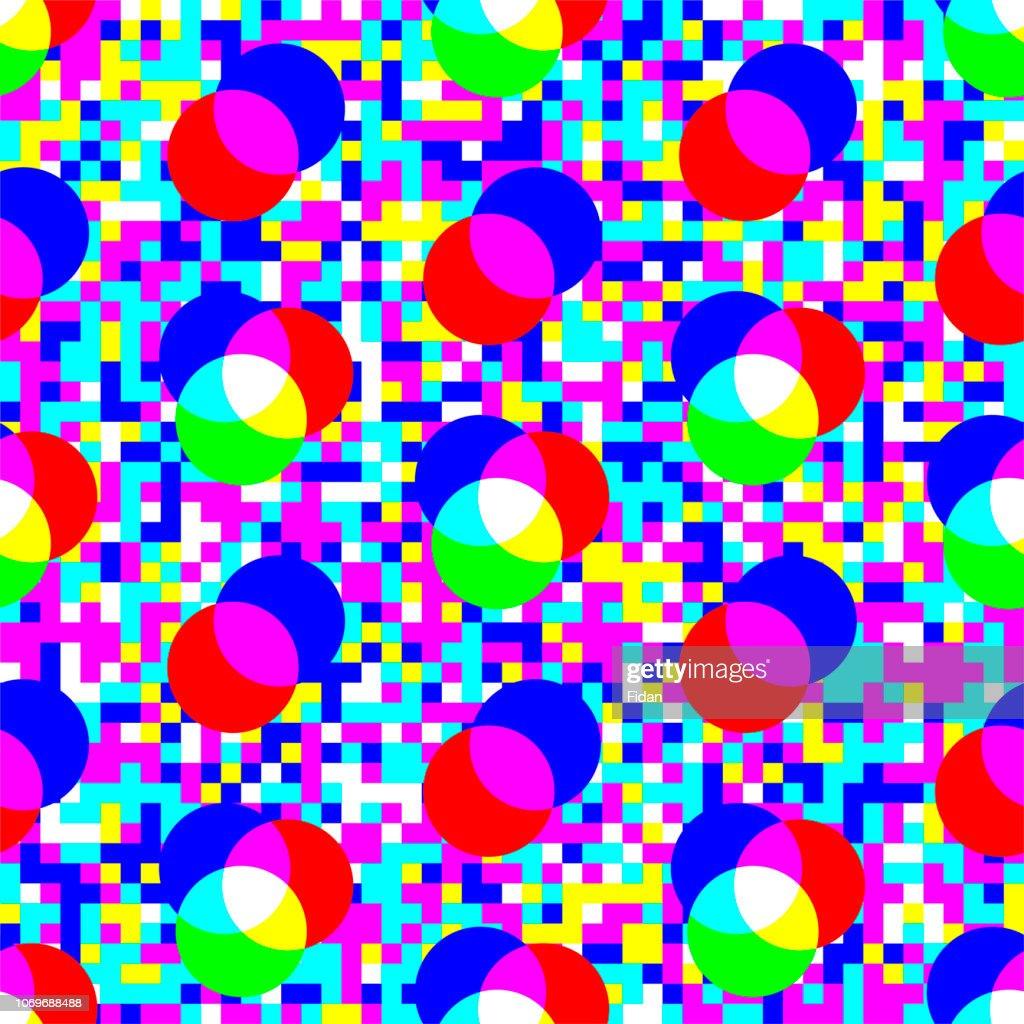 Digital rgb colors pattern/ transparent rgb cmyk geometrical round elements/ seamless print pixel background