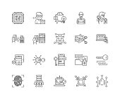 Digital security line icons, signs, vector set, outline illustration concept