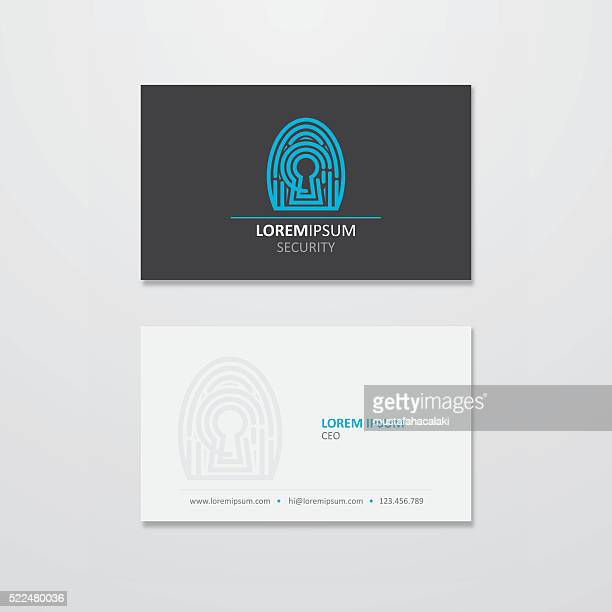 digital security logo and business card design - unlocking stock illustrations