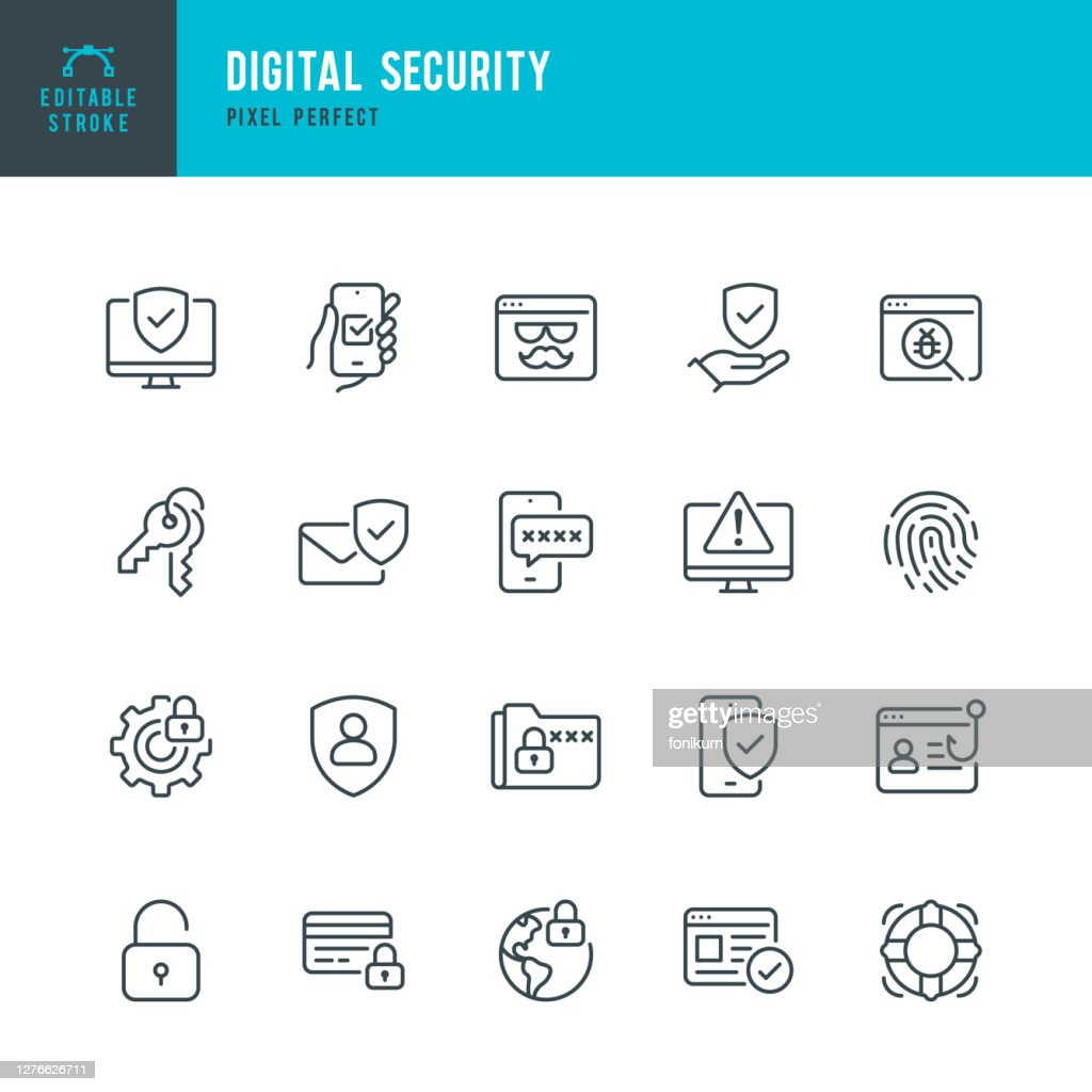 Digital Security - thin line vector icon set. Pixel perfect. Editable stroke. The set contains icons: Security System, Antivirus, Privacy, Fingerprint, Web Page, Password, Support. : stock illustration