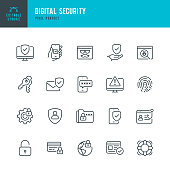 Digital Security - thin line vector icon set. Pixel perfect. Editable stroke. The set contains icons: Security System, Antivirus, Privacy, Fingerprint, Web Page, Password, Support.