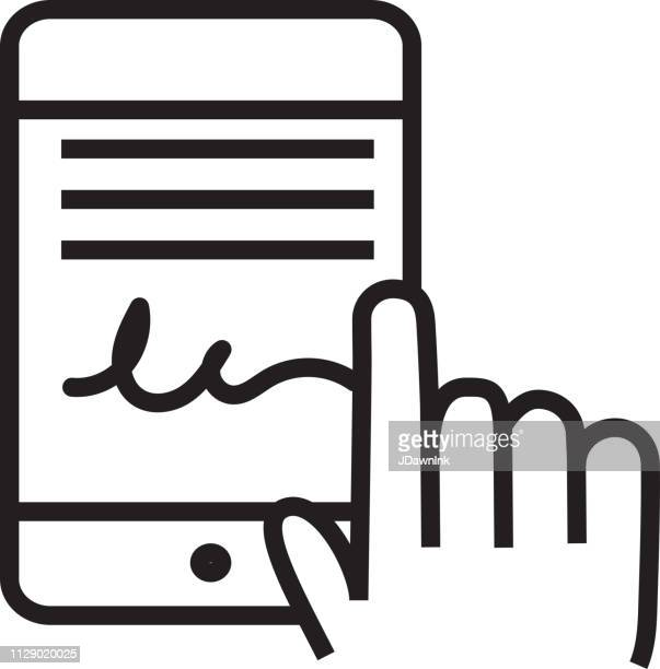digital signature flat simple outline line art design icon - signing stock illustrations