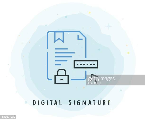 Digital Signature Icon with Watercolor Patch