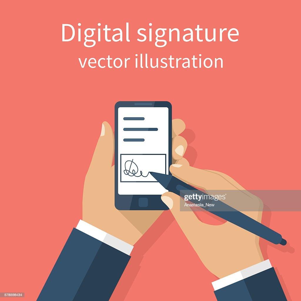 Digital signature on smartphone.