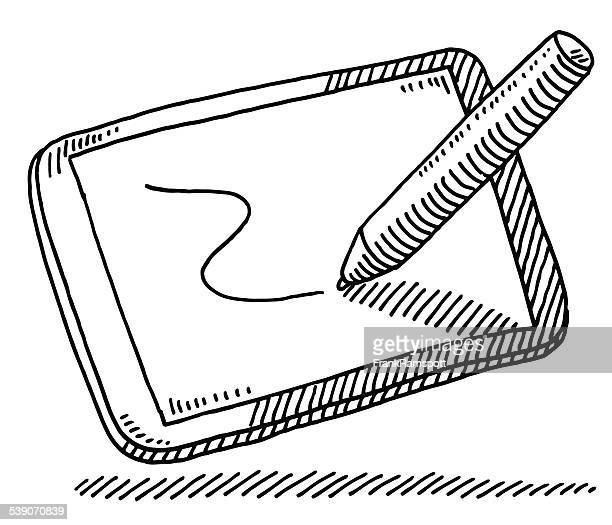 ilustraciones, imágenes clip art, dibujos animados e iconos de stock de lápiz de dibujo digital dibujar comprimido - tableta gráfica